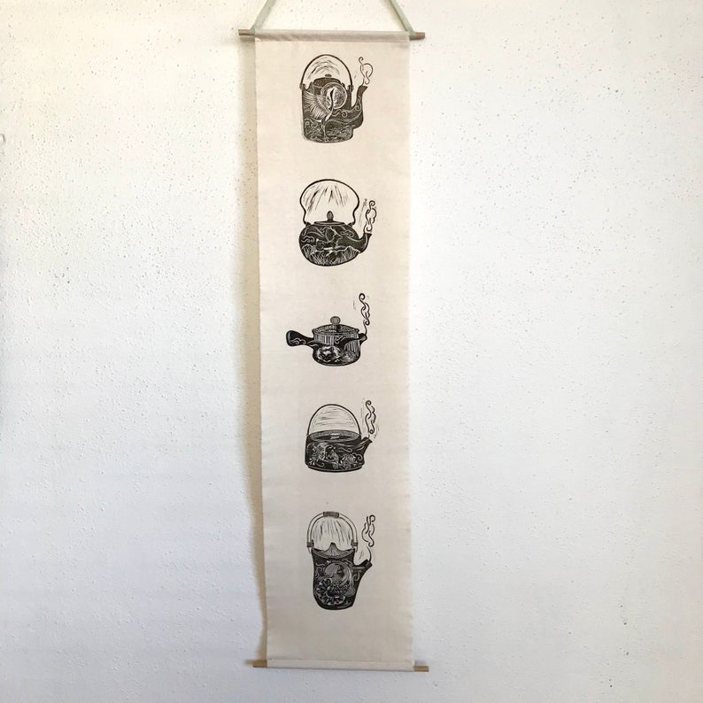 (Linoprint) Japanese Teapot Banner – By Jocelin Meredith Artwork