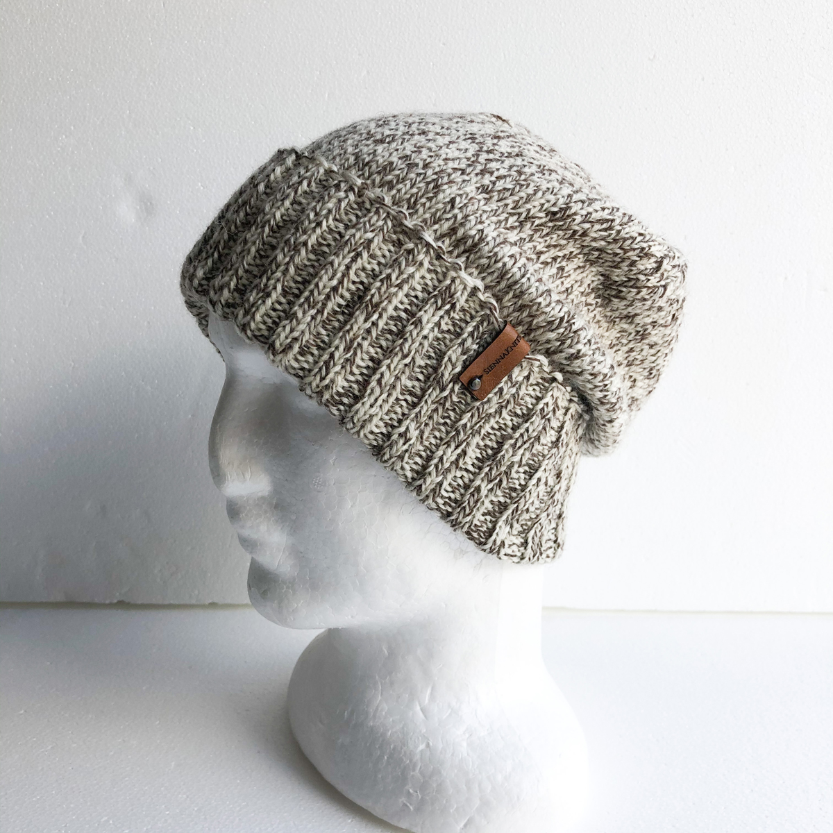100% Wool Brown And Cream Men Knit Beanie With Foldable Brim By SiennaKnits