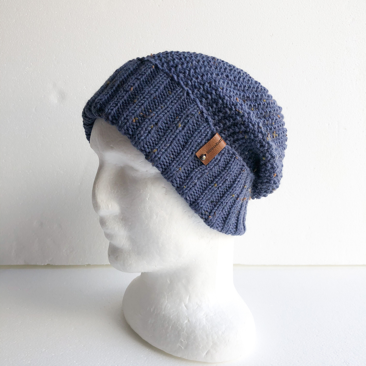 Men Speckled Blue Wool Knit Beanie With Foldable Brim By SiennaKnits