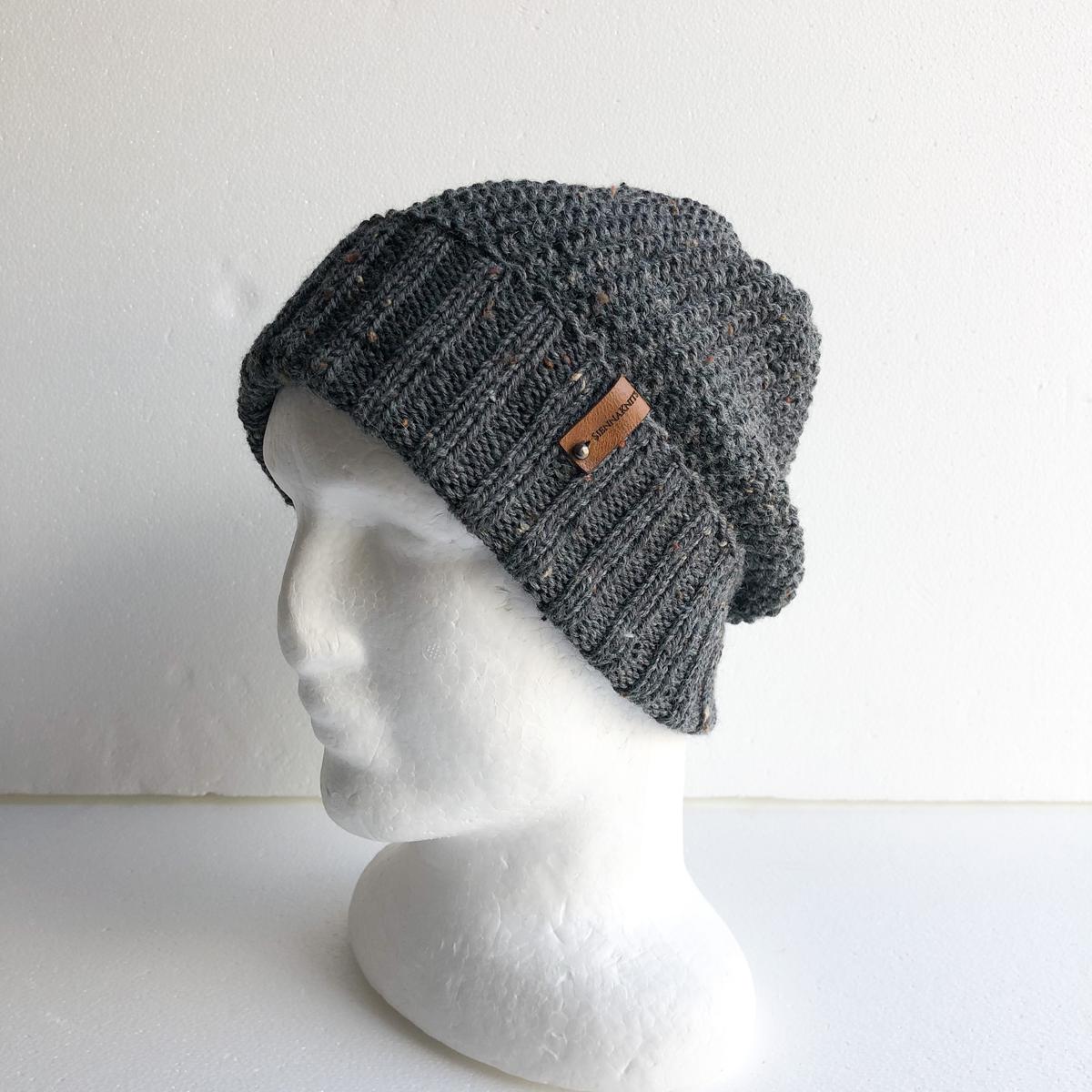 Men Speckled Dark Grey Wool Knit Beanie With Foldable Brim By SiennaKnits