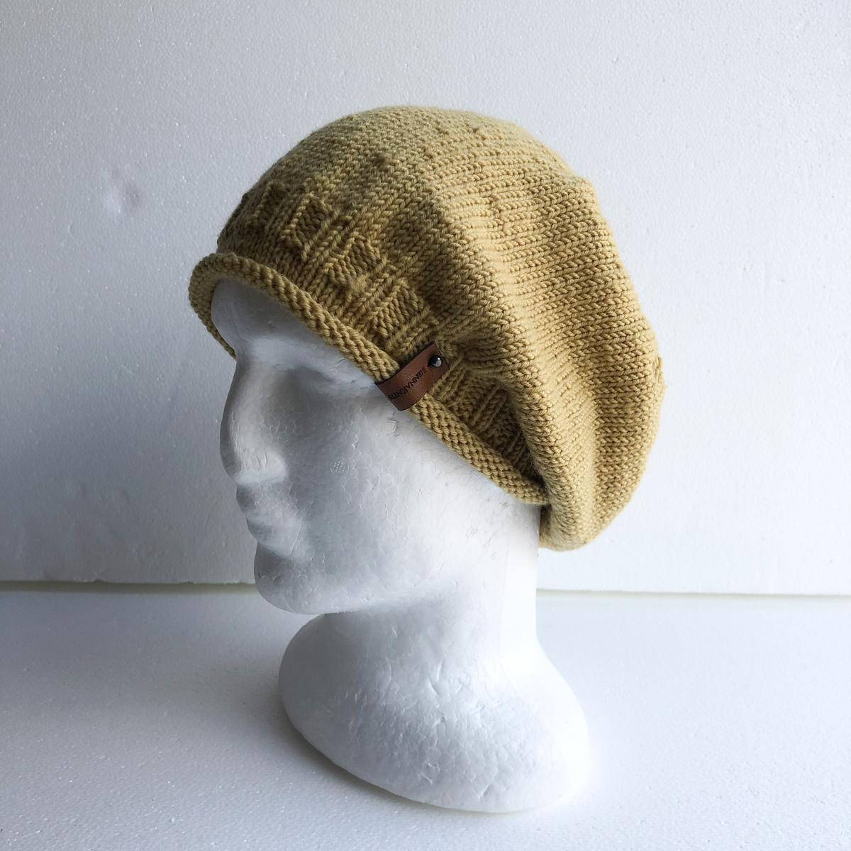 100% Wool Mustard Knit Women Slouchy Beanie With Roll Up Brim By SiennaKnits