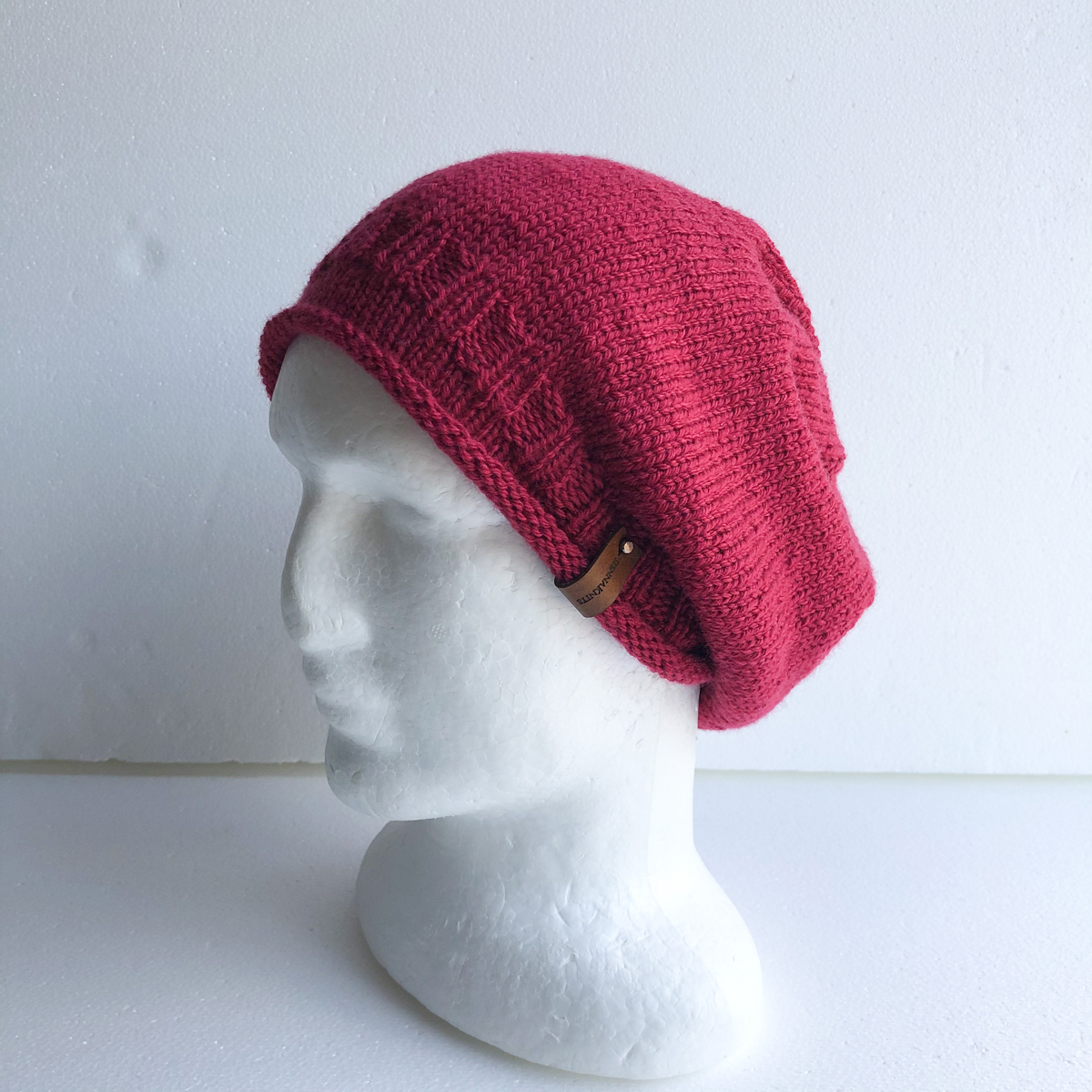 100 % Wool Cherry Pink Knit Women Slouchy Beanie With Roll Up Brim By SiennaKnits