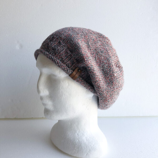 100-wool-pink-and-grey-knit-women-slouchy-beanie-with-roll-up-brim-by-siennaknits-by-siennaknits