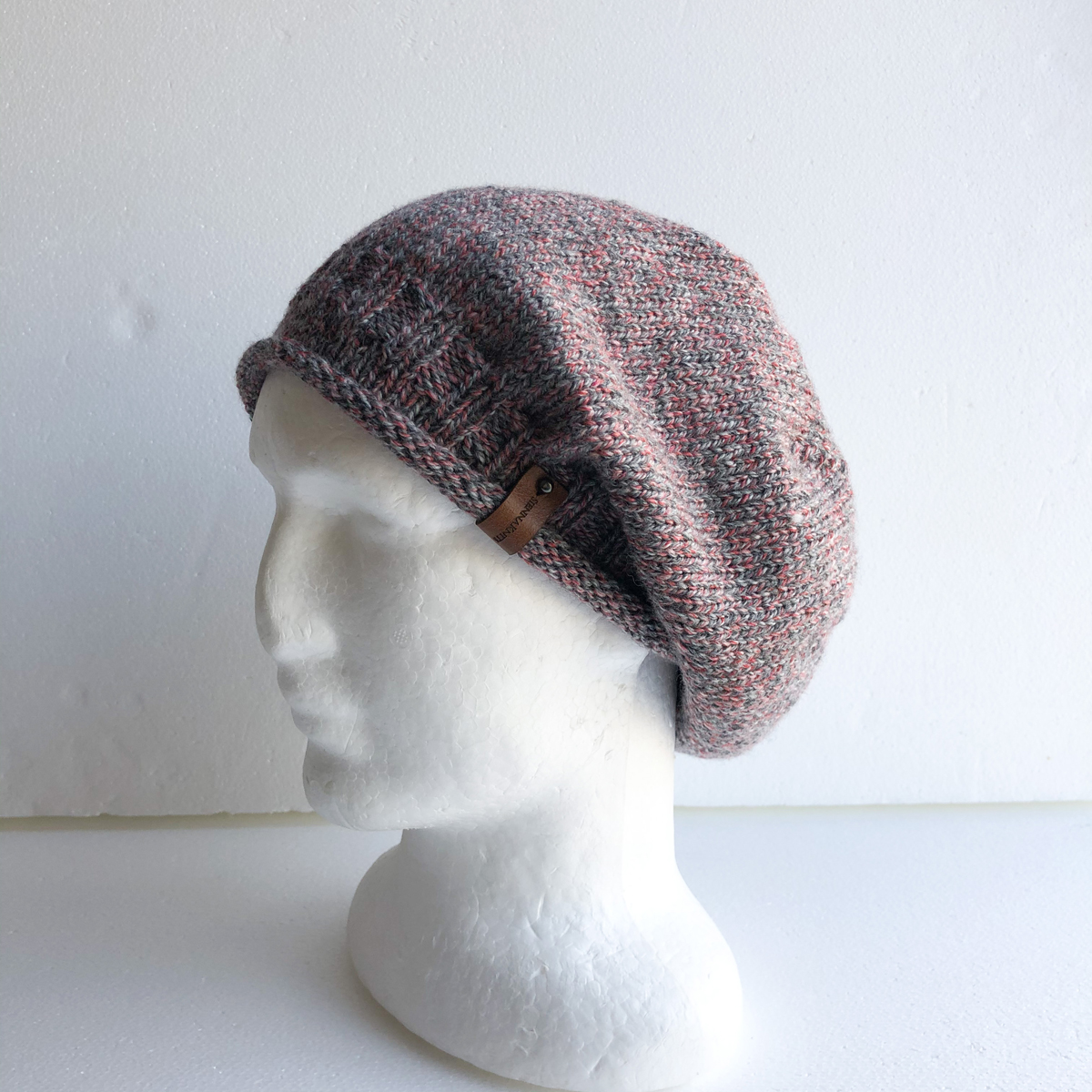 100% Wool Pink And Grey Knit Women Slouchy Beanie With Roll Up Brim By SiennaKnits