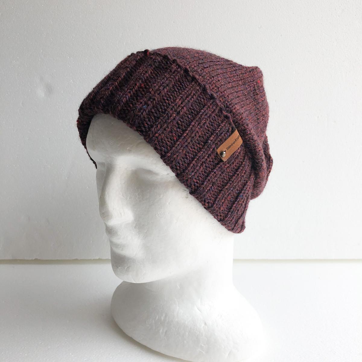 100% Wool Burgundy, Purple, Black Knit Women Beanie With Foldable Brim By SiennaKnits