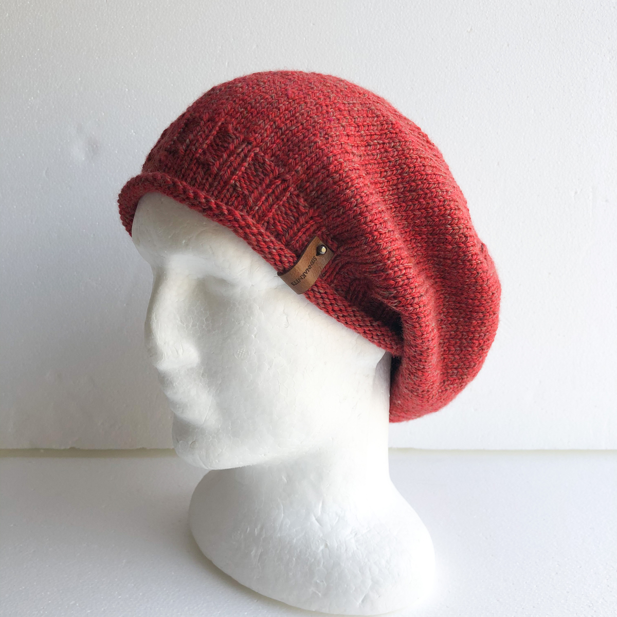 100% Wool Red Knit Women Slouchy Beanie With Roll Up Brim By SiennaKnits