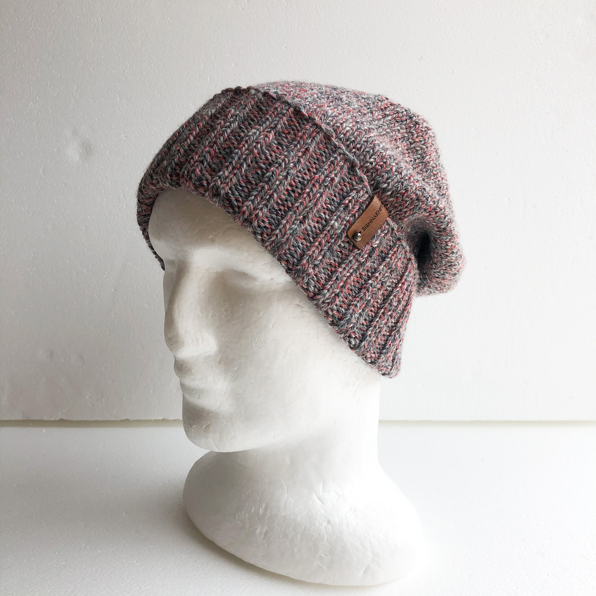 100% Wool Pink And Grey Knit Women Beanie With Foldable Brim By SiennaKnits
