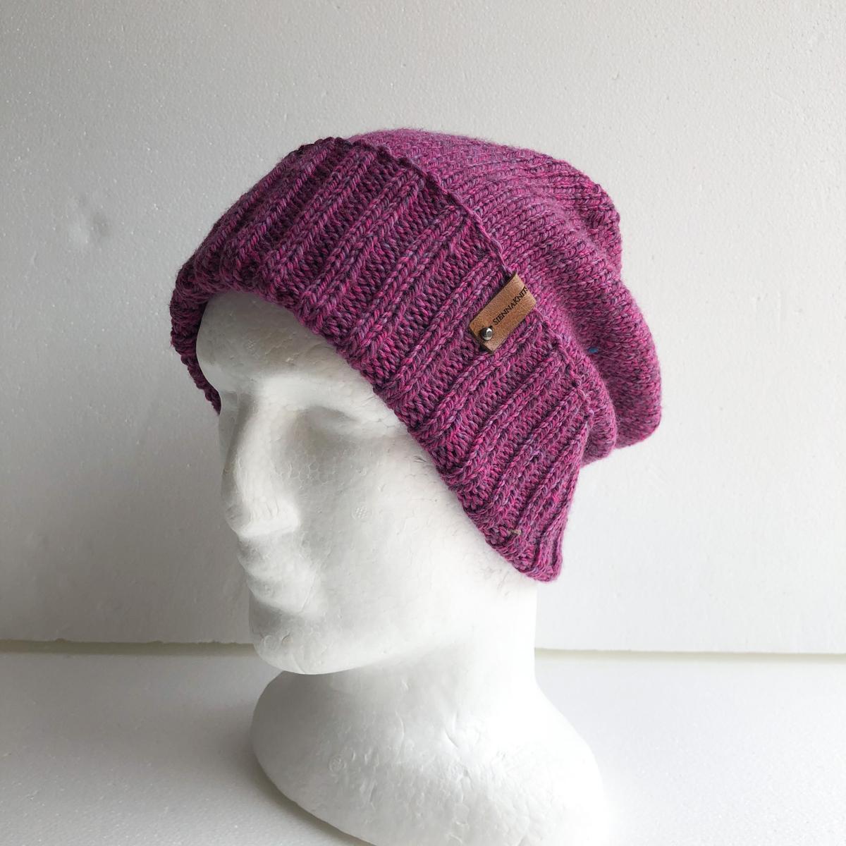 100% Wool Purple Knit Women Beanie With Foldable Brim By SiennaKnits