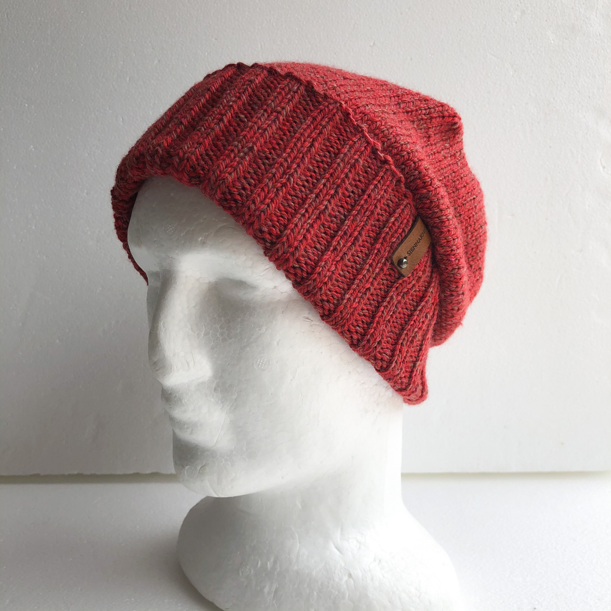 100% Wool Red Knit Women Beanie With Foldable Brim By SiennaKnits