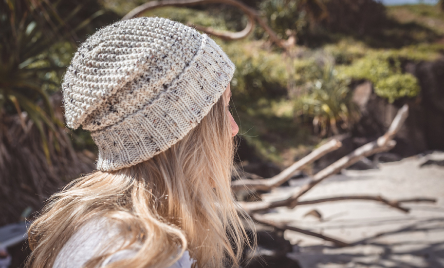 Women Oatmeal Wool Knit Beanie With Foldable Brim By SiennaKnits