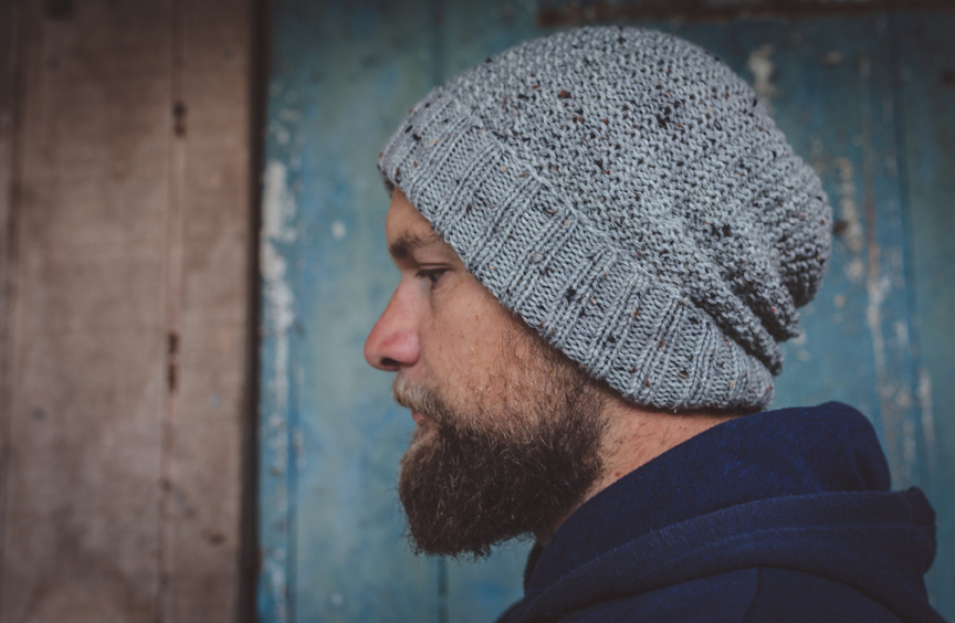 Men Speckled Light Grey Wool Knit Beanie With Foldable Brim By SiennaKnits