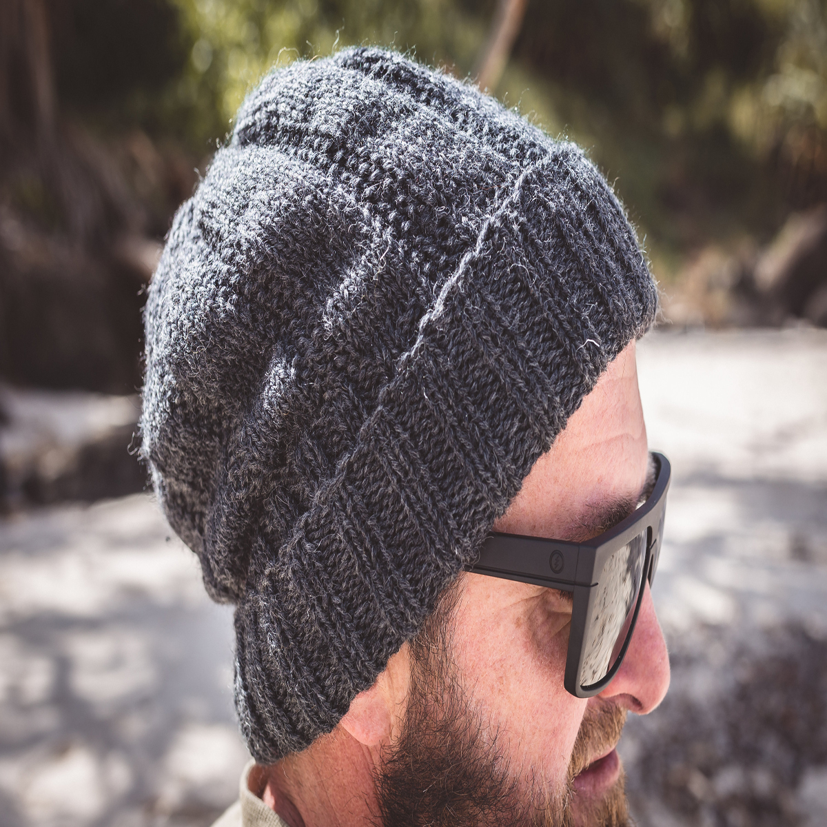 Men Charcoal Wool Knit Beanie With Foldable Brim By SiennaKnits