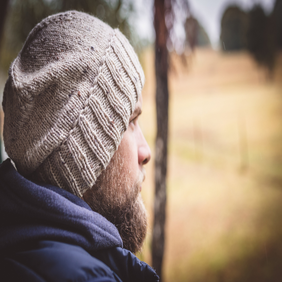 Men Speckled Oatmeal Wool Knit Beanie With Foldable Brim By SiennaKnits