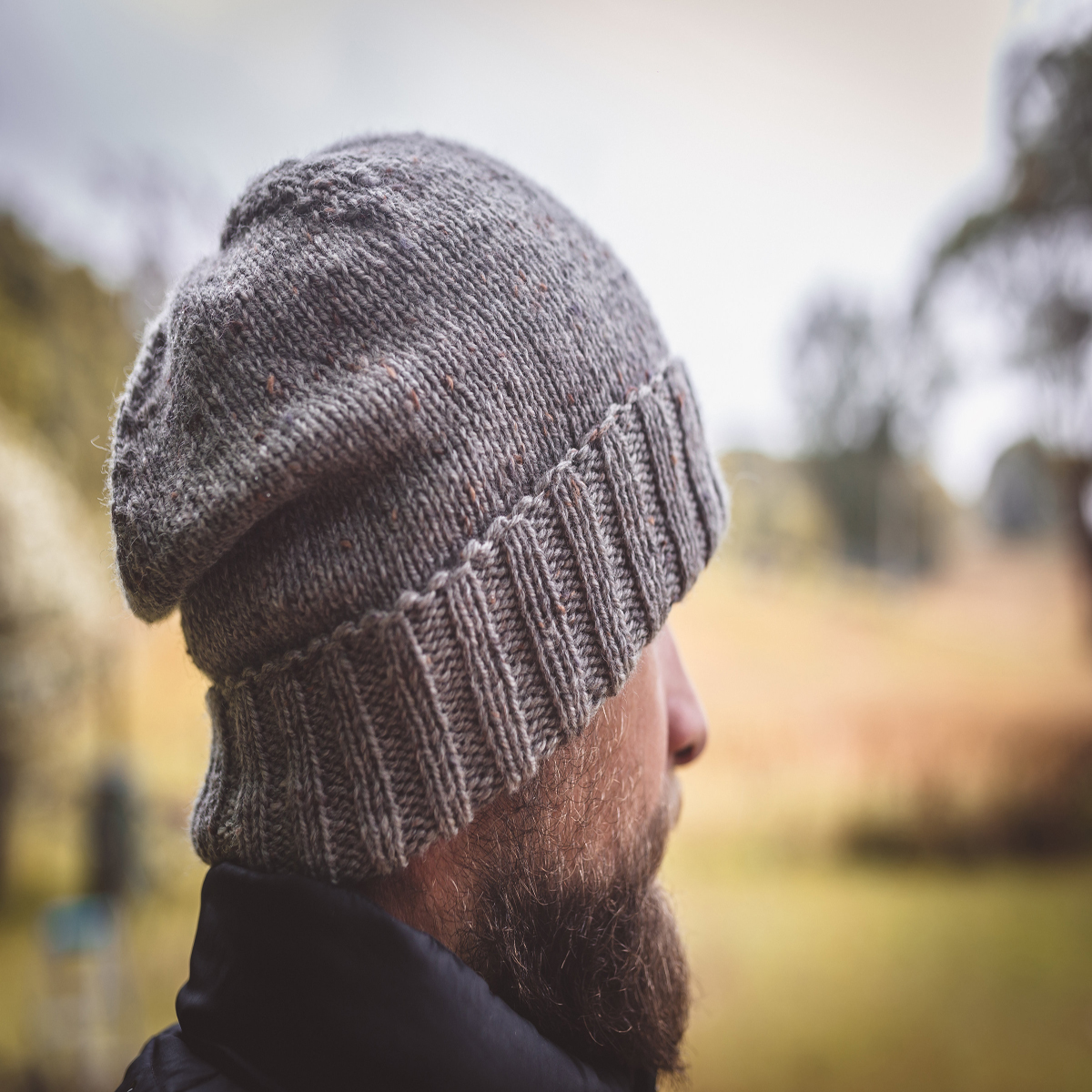Men Speckled Grey Wool Knit Beanie With Foldable Brim By SiennaKnits