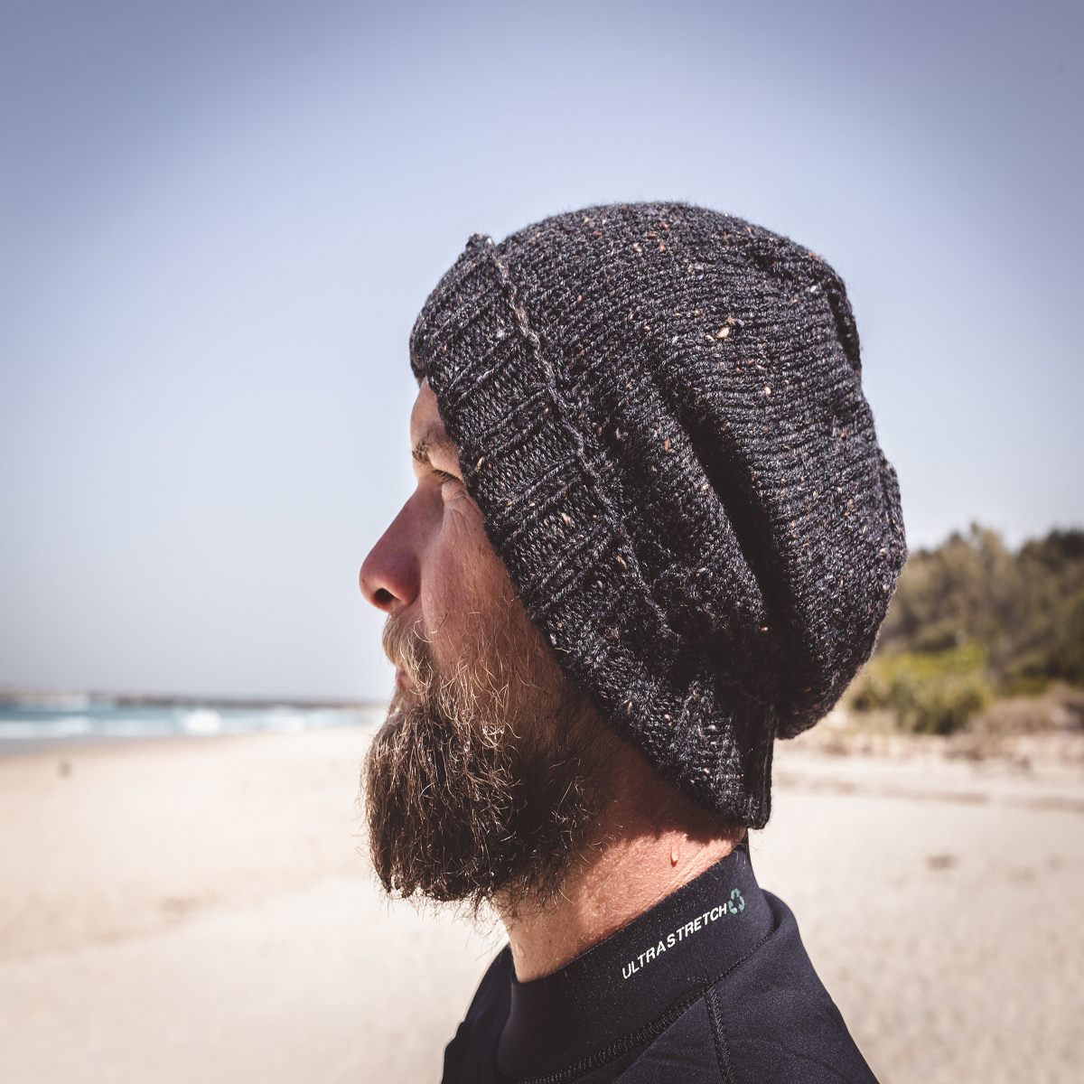 Men Speckled Black Wool Knit Beanie With Foldable Brim By SiennaKnits