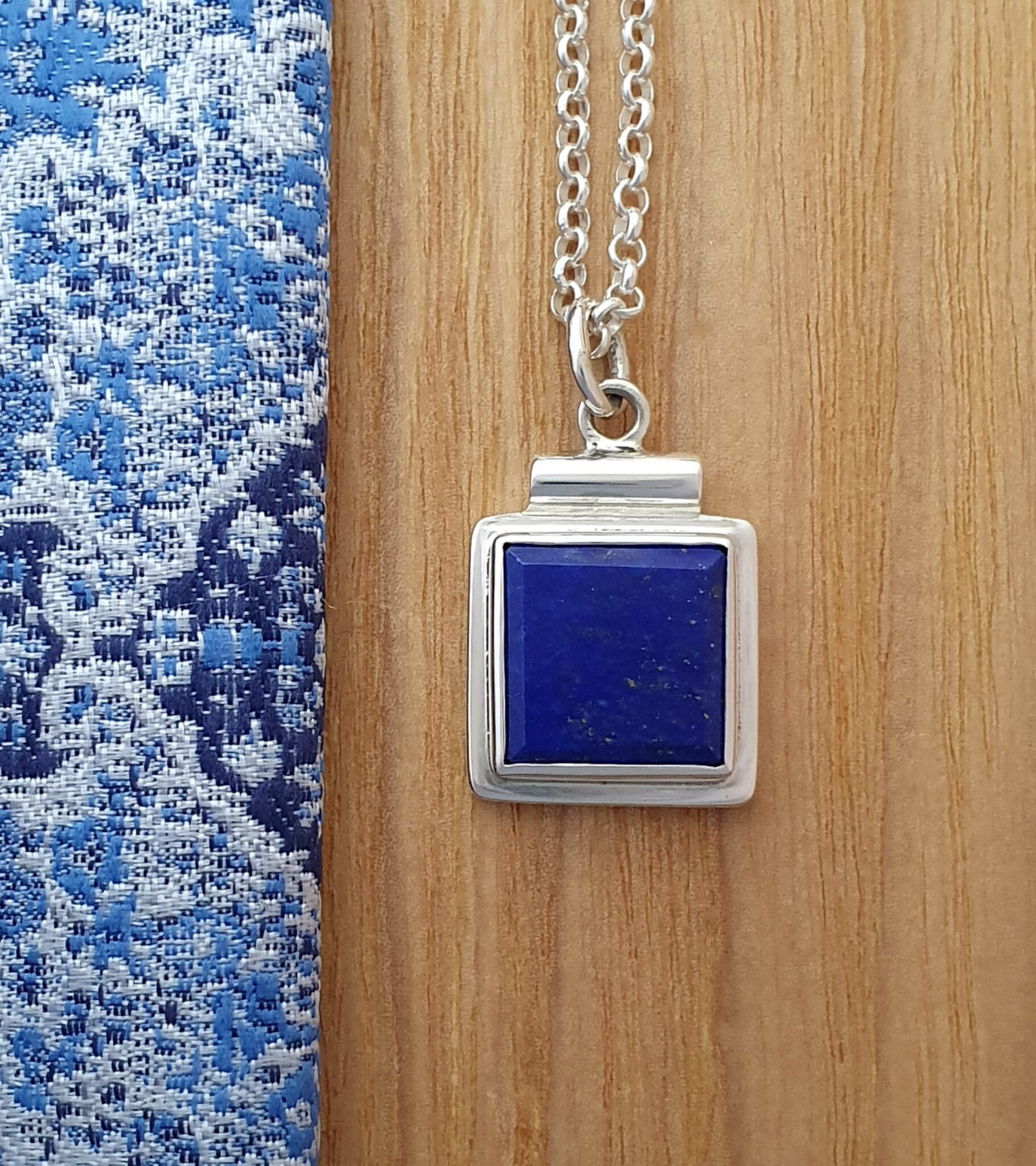 Lapis Lazuli Square On Square Sterling Silver Pendant By Flying Lobster Jewellery
