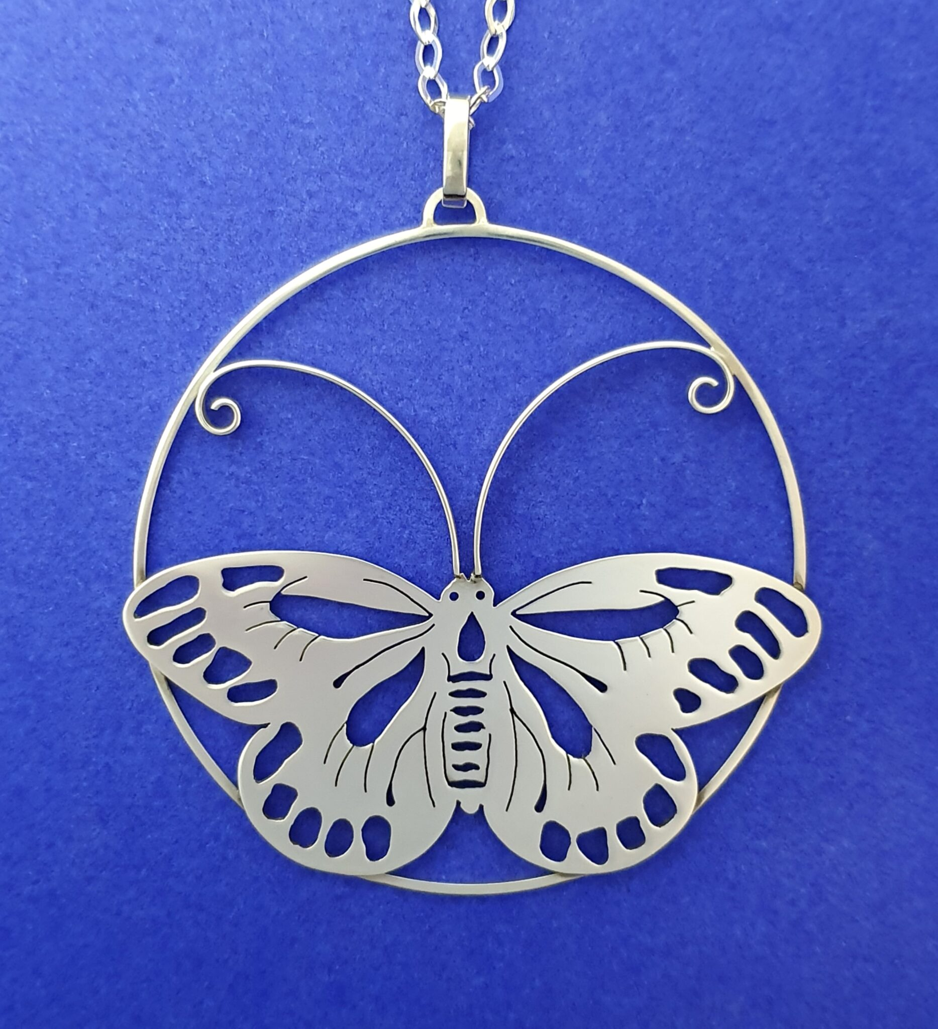 Over-sized Butterfly Sterling Silver Pendant By Flying Lobster Jewellery
