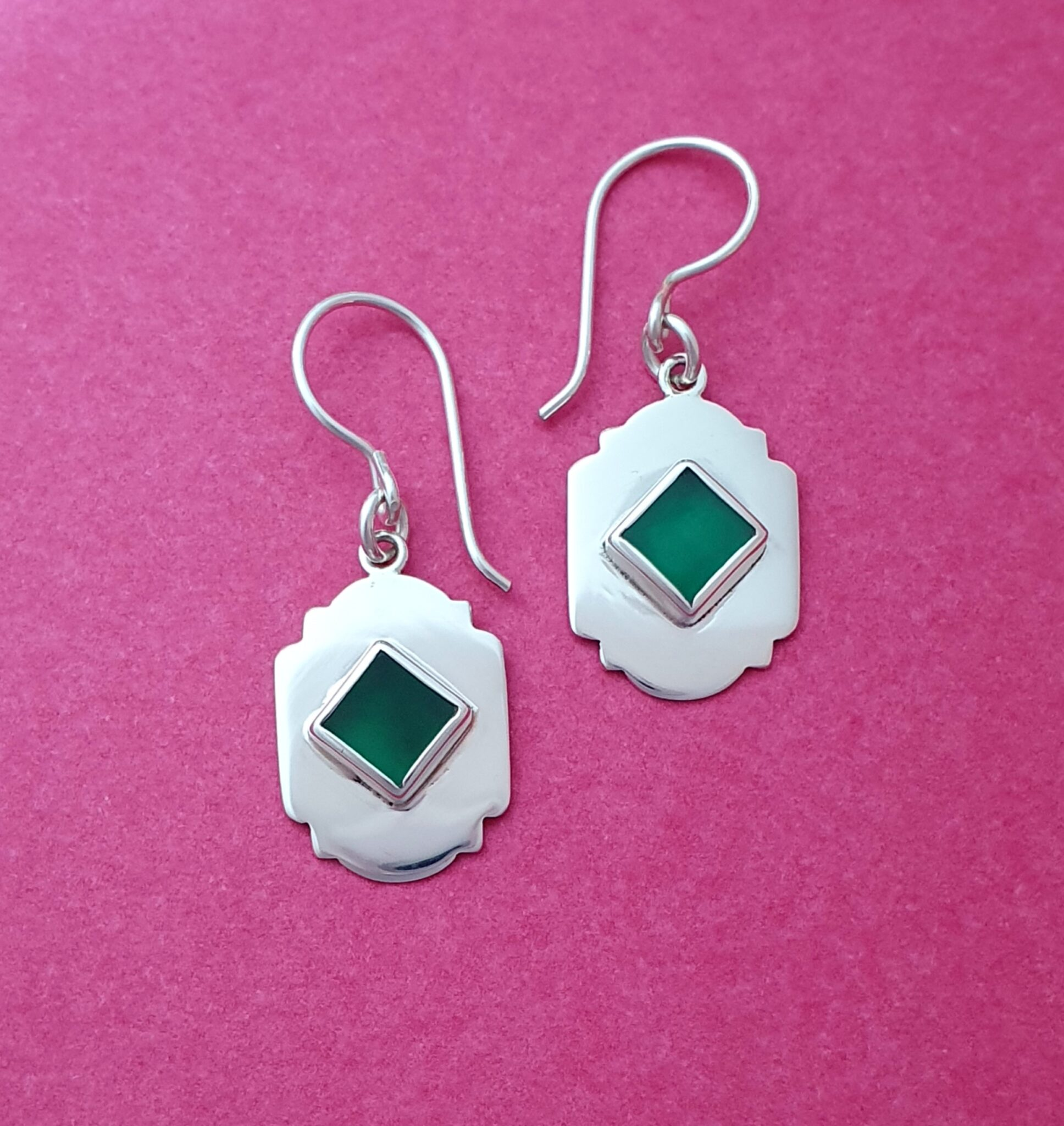 Vintage Arch Sterling Silver And Green Agate Earrings By Flying Lobster Jewellery