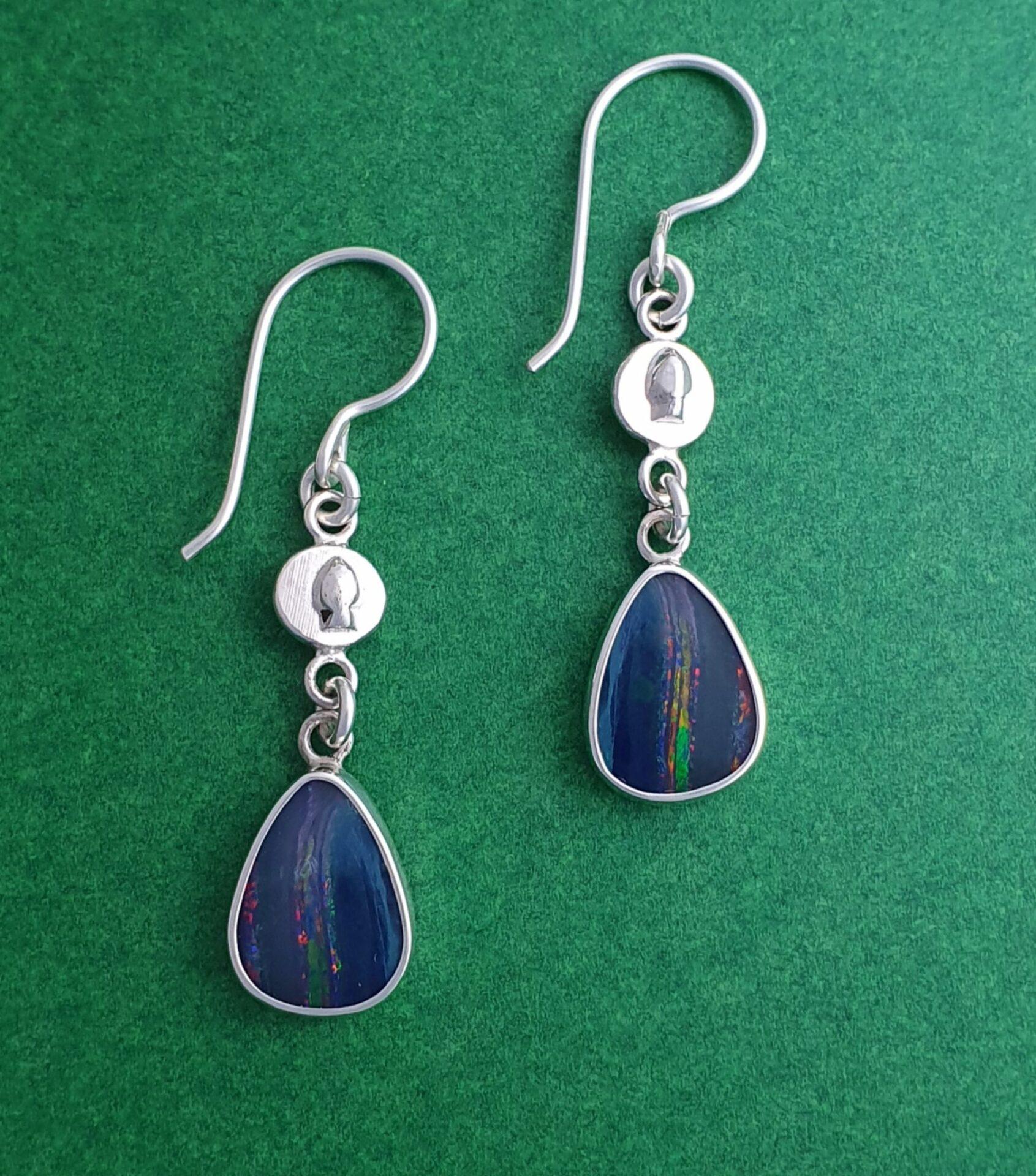 Opal And Sterling Silver Earrings By Flying Lobster Jewellery