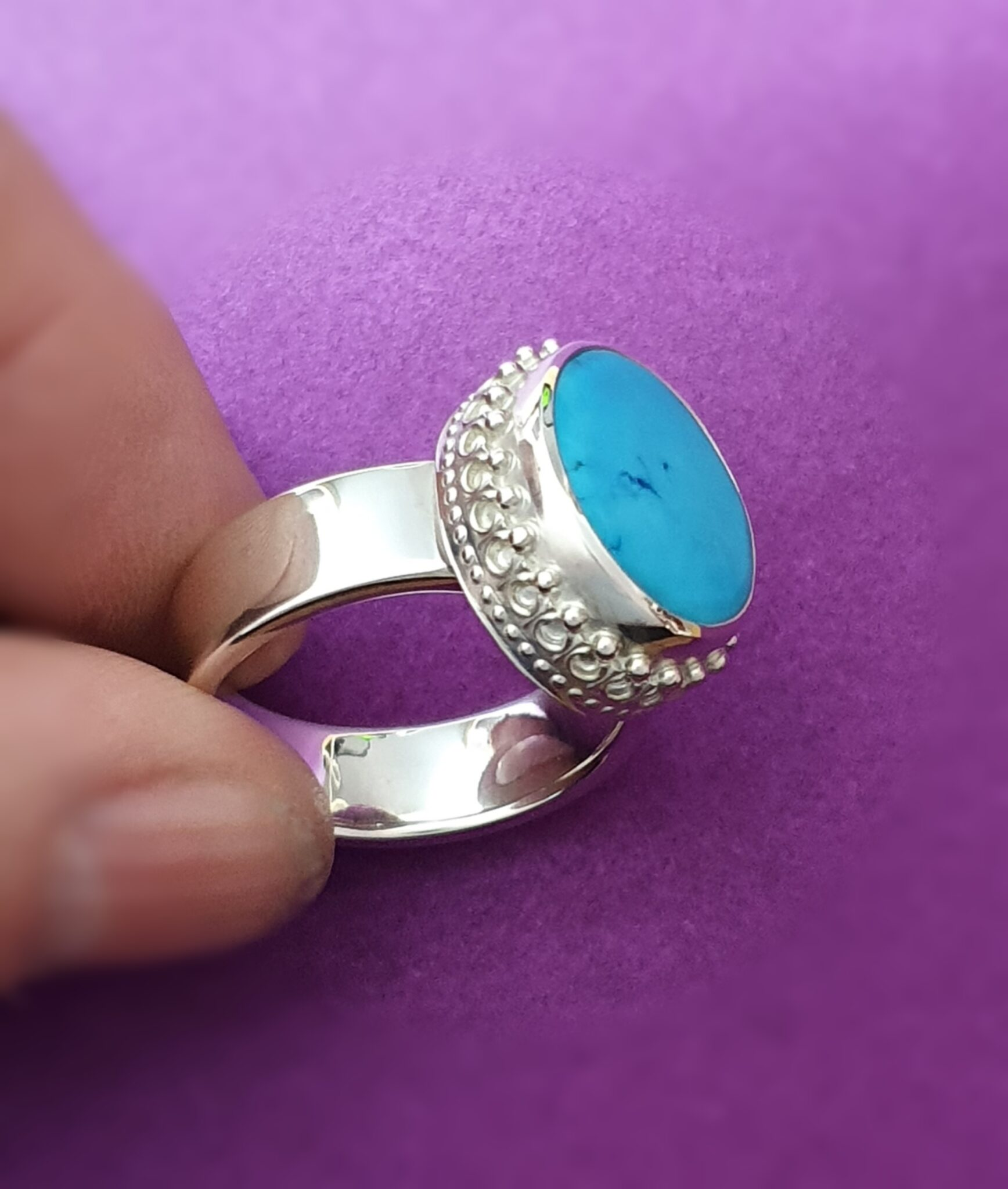 Extra Large Iranian Turquoise And Sterling Silver Ring By Flying Lobster Jewellery