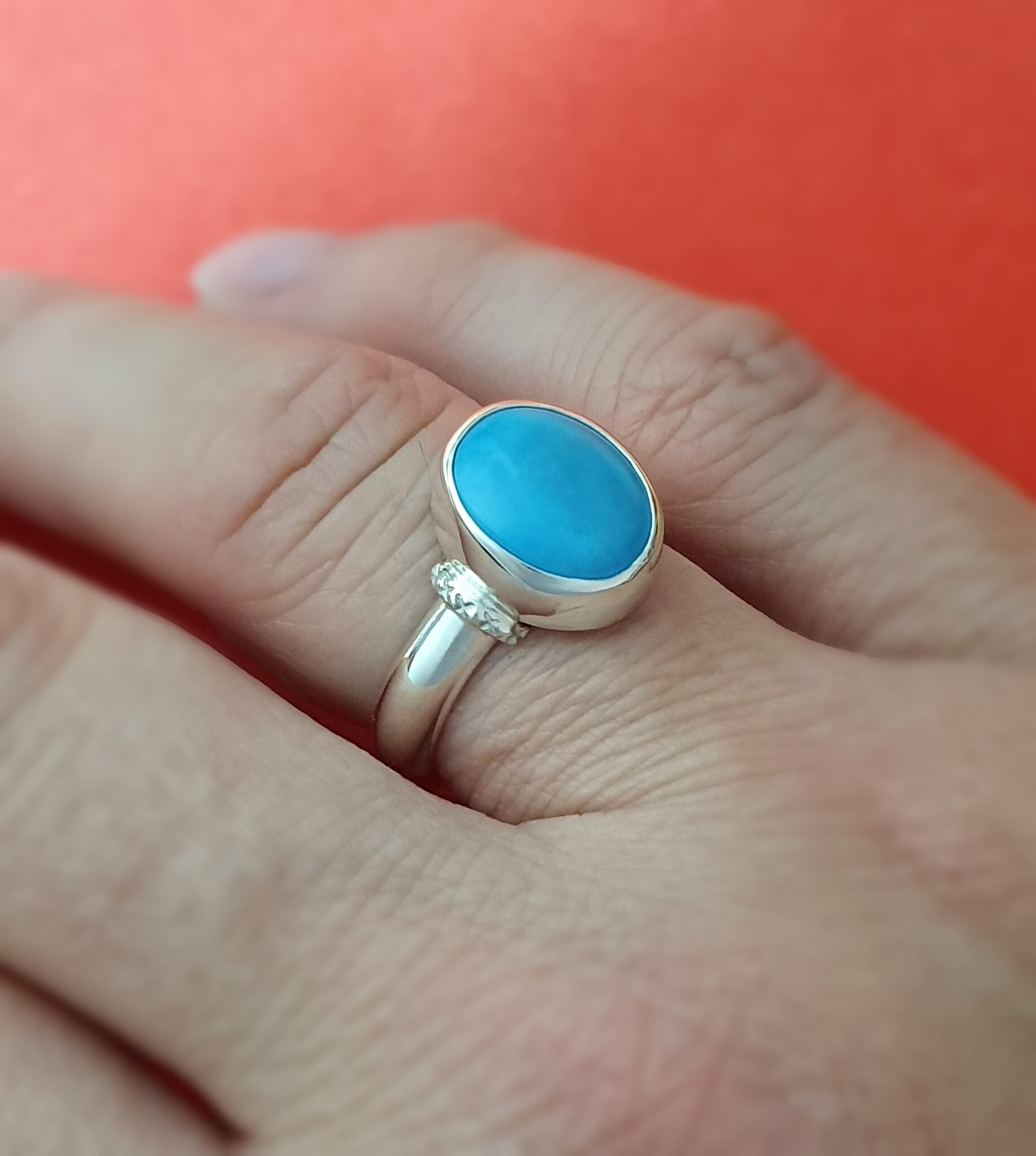 Iranian Turquoise Sterling Silver Ring By Flying Lobster Jewellery