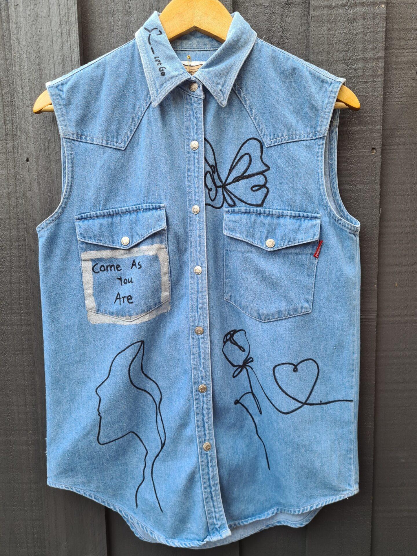 Women's Line-Drawn Denim Vest By Being Benign