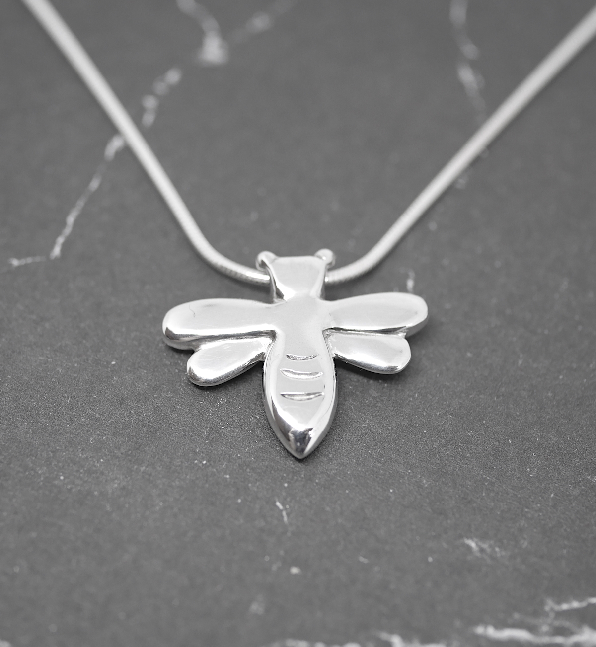 Honeybee – Handmade Solid Sterling Silver Bee Pendant With Snake Chain By Purplefish Designs
