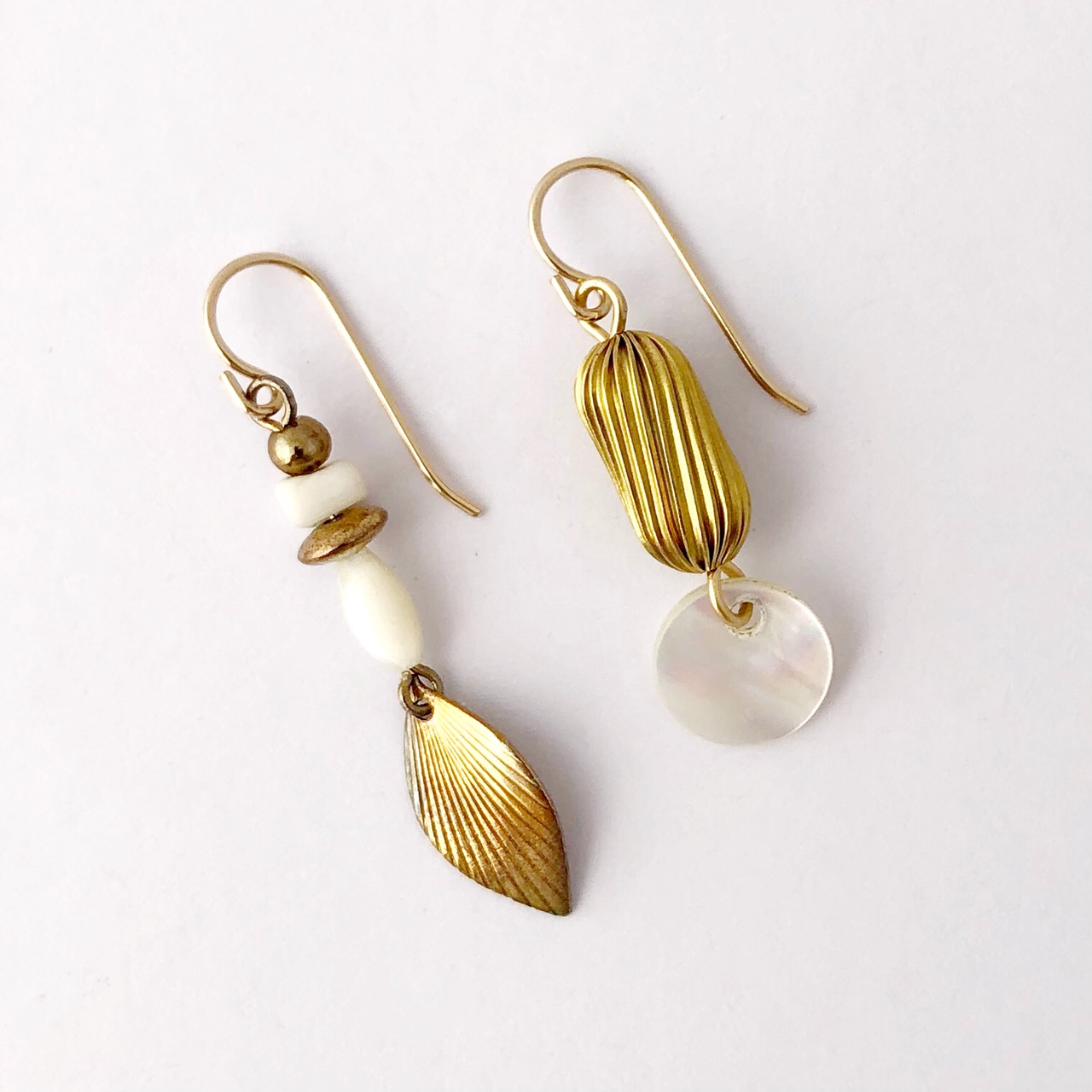Asymmetric Vintage Mother Of Pearl Earrings By My Vintage Obsession