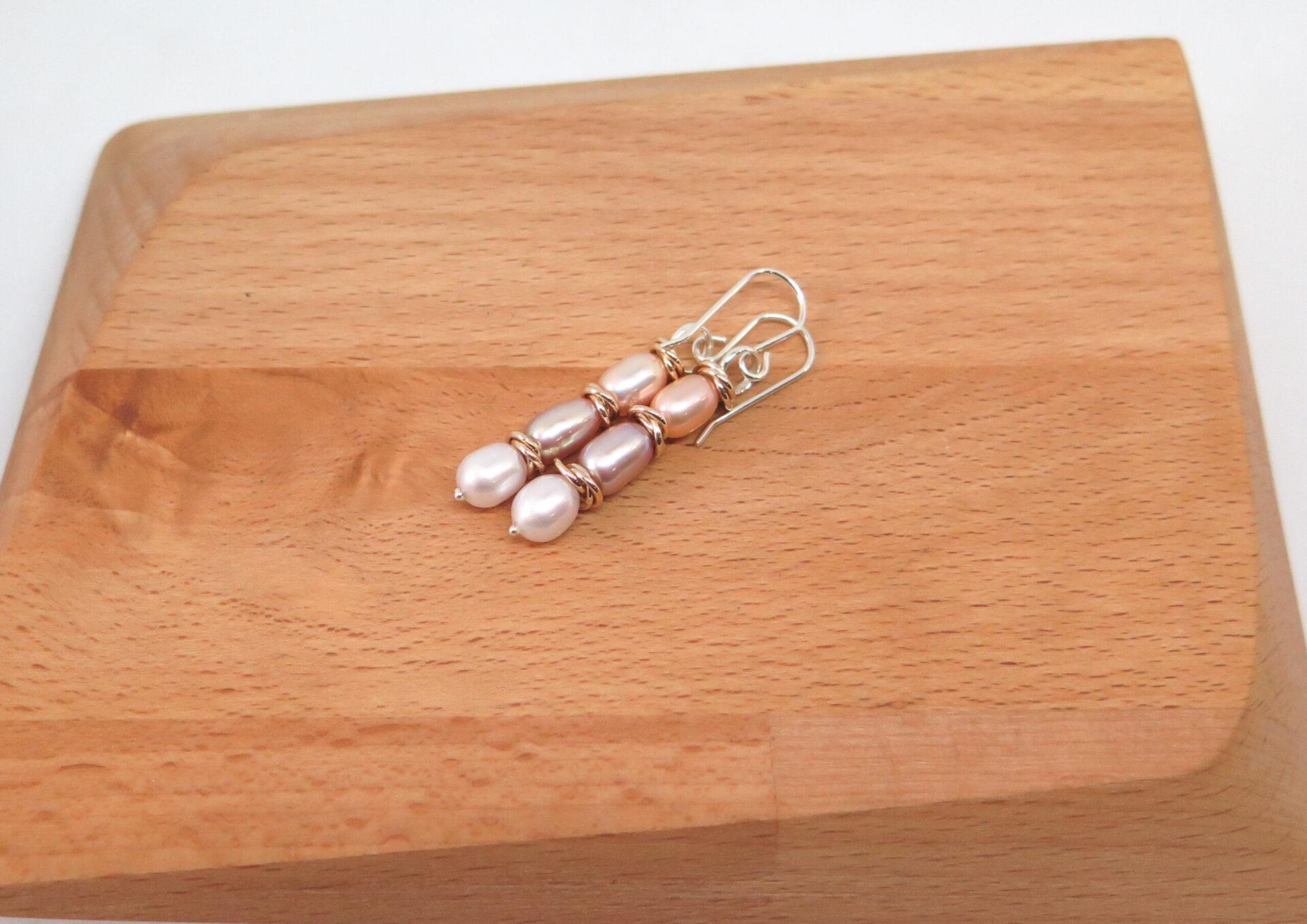 Pearl Trio Dangle Earrings By GermanoArts