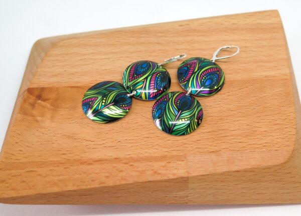 funky-peacock-dye-sublimation-drop-earrings-by-Germano Arts