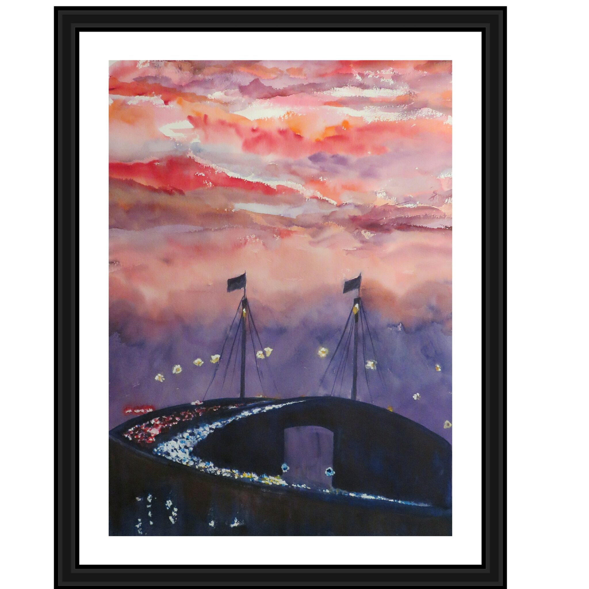 Commuting Home, Framed Original Watercolour By Artist Carin Lavery