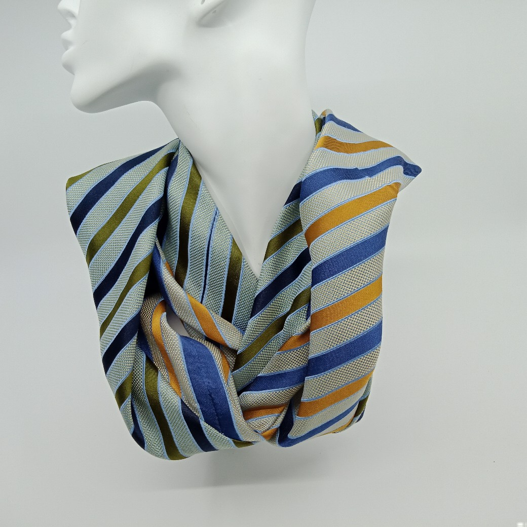 Striped Silk Infinity Scarf By Judith Scott Upcycling
