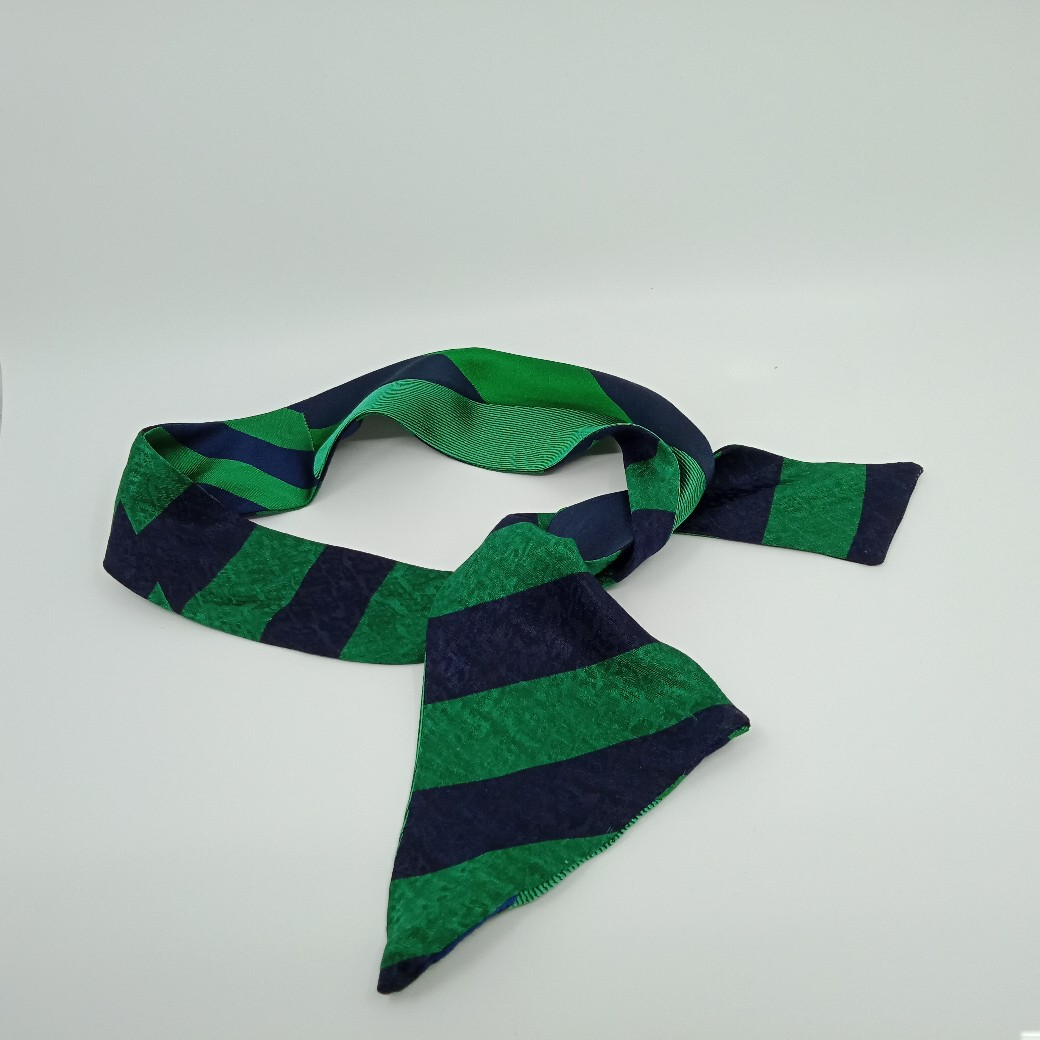Green And Navy Silk Headband By Judith Scott Upcycling