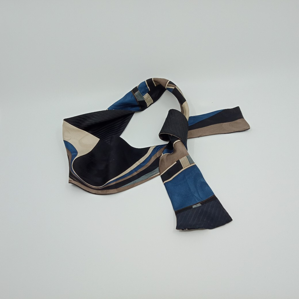 Versatile Silk Headband In Smoky Blue, Taupe, Grey And Black By Judith Scott Upcycling