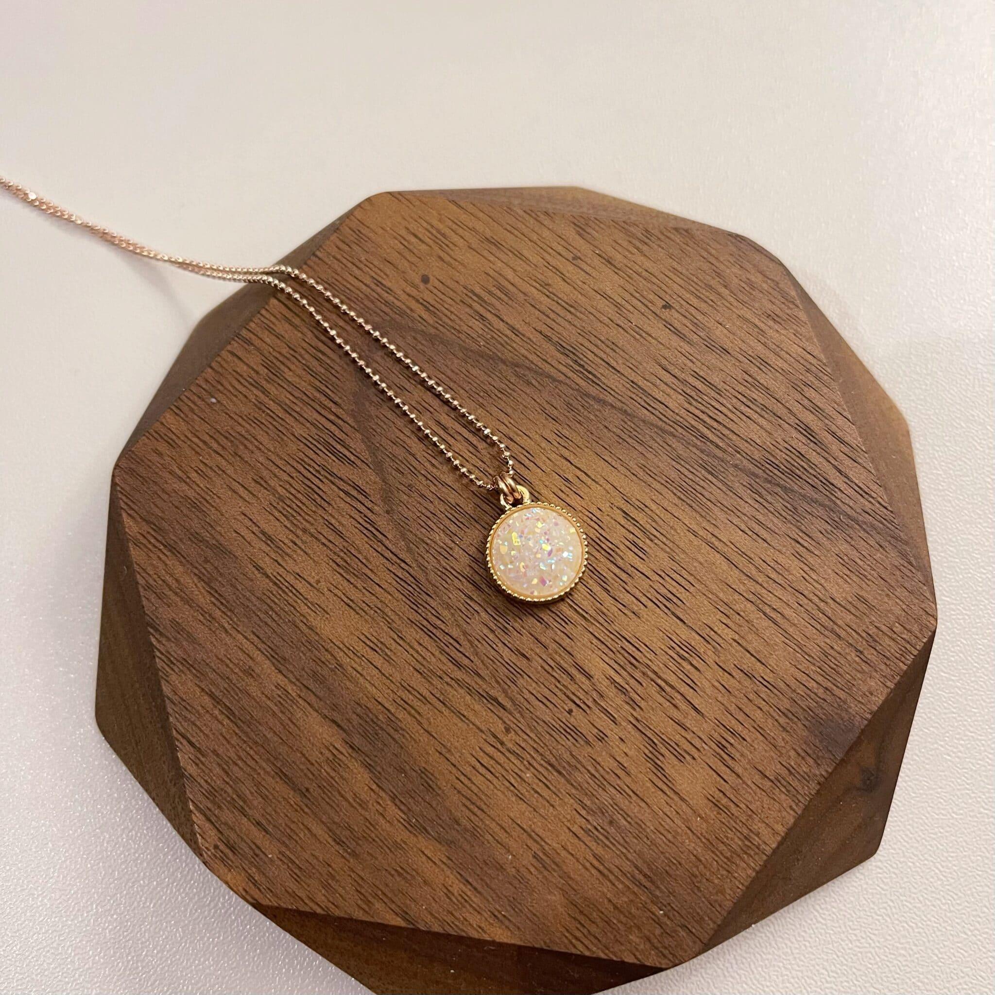 White Titanium Druzy Agate Necklace By Hidden Petals