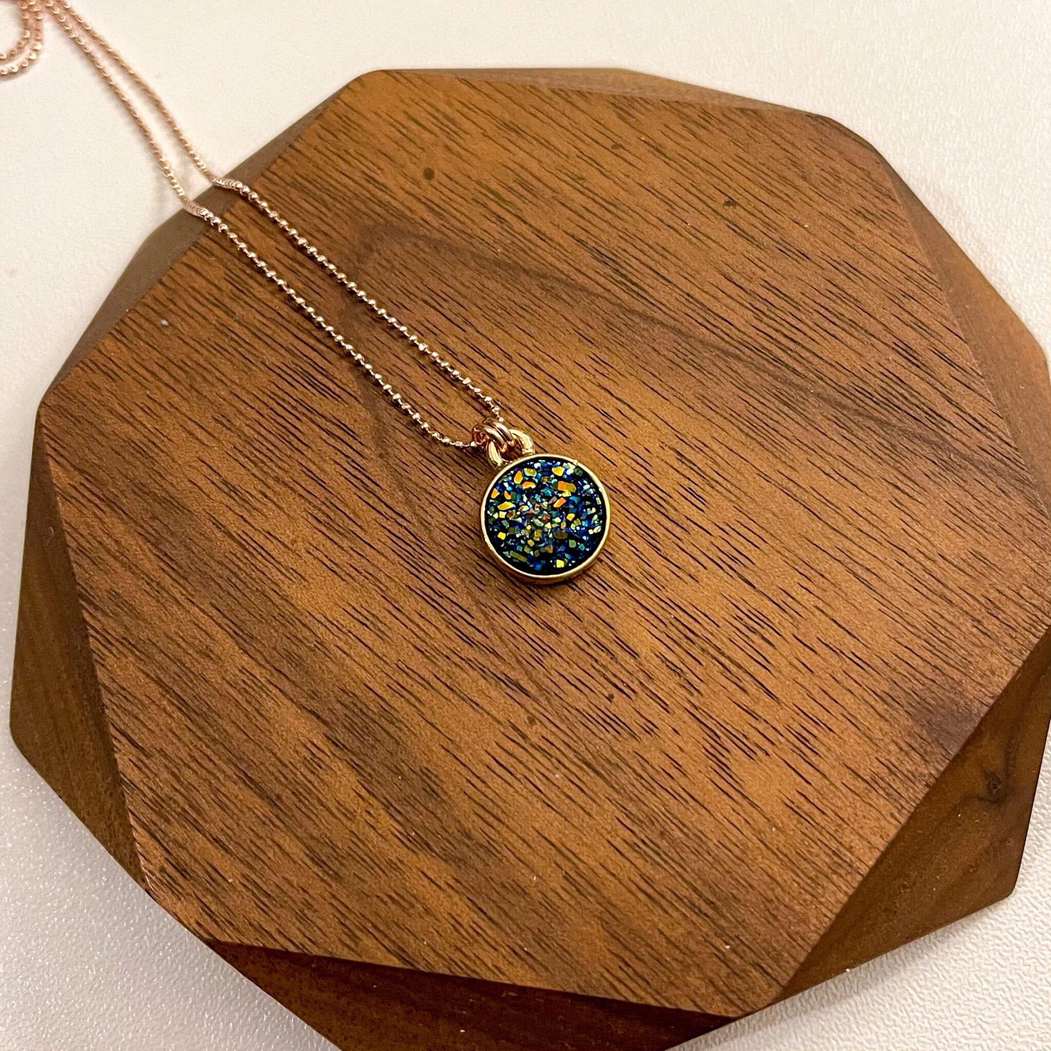 Blue Titanium Druzy Agate Necklace By Hidden Petals