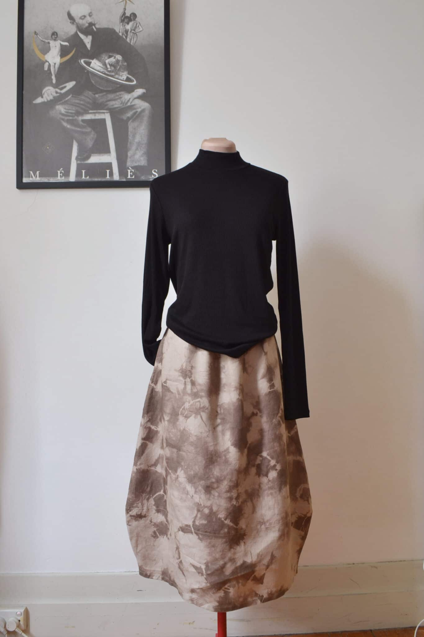 Linen Balloon Skirt (Taupe Tie Dye) By à Pois