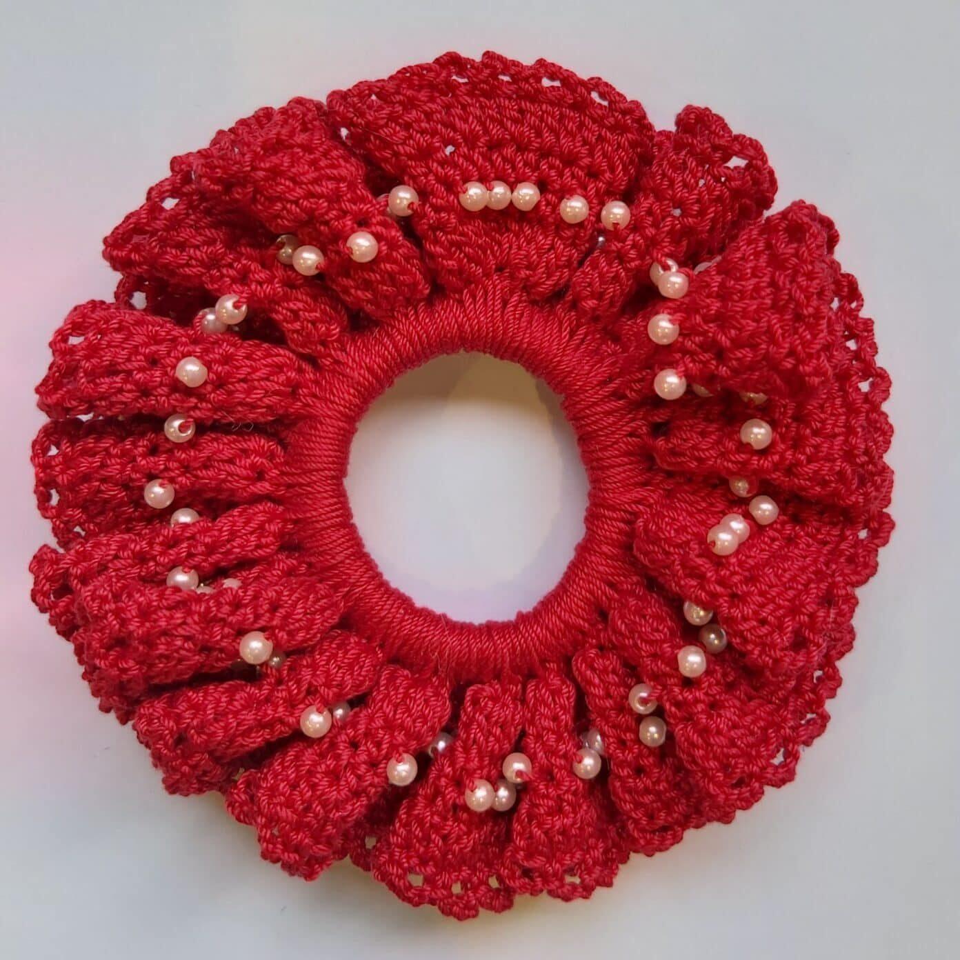 Red Scrunchie Handmade By U-Knit Crochet