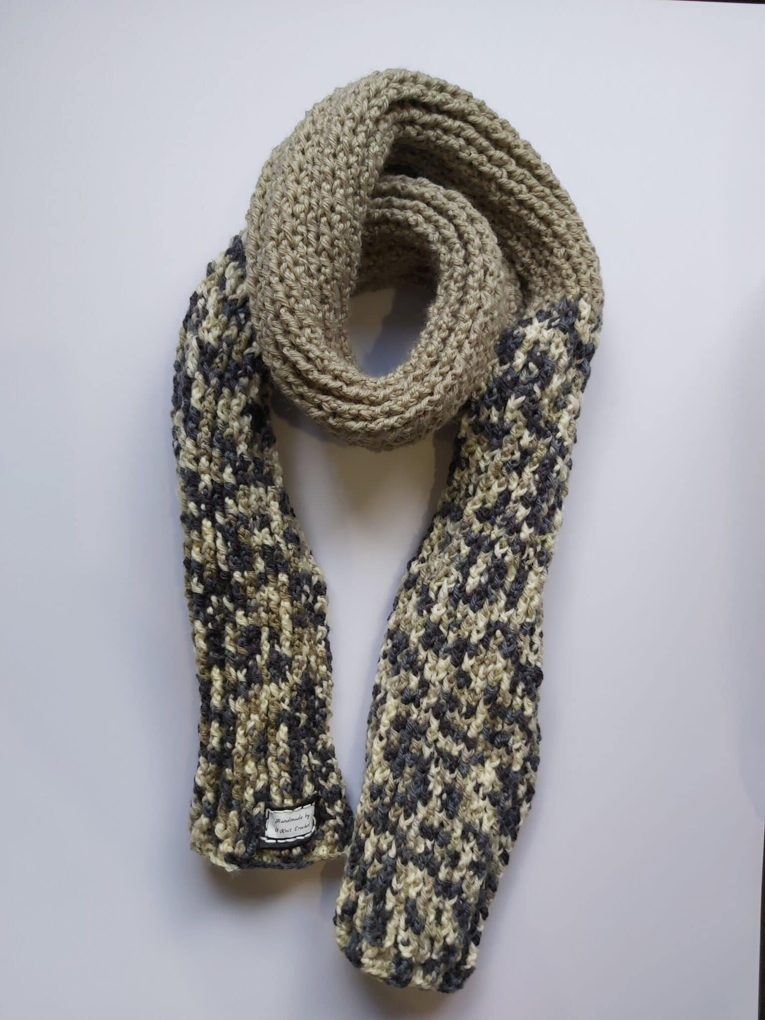 Black/Beige Ribbed Scarf Handmade By U-Knit Crochet
