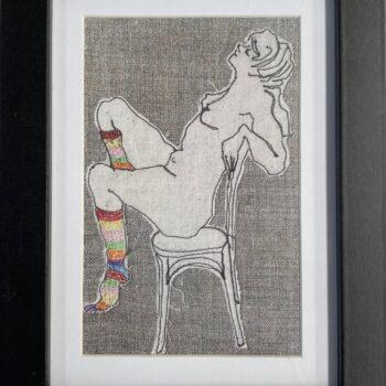 ms-stripey-socks-ii-framed-artwork-print-by-juliet-d-collins-by-julietdcollins