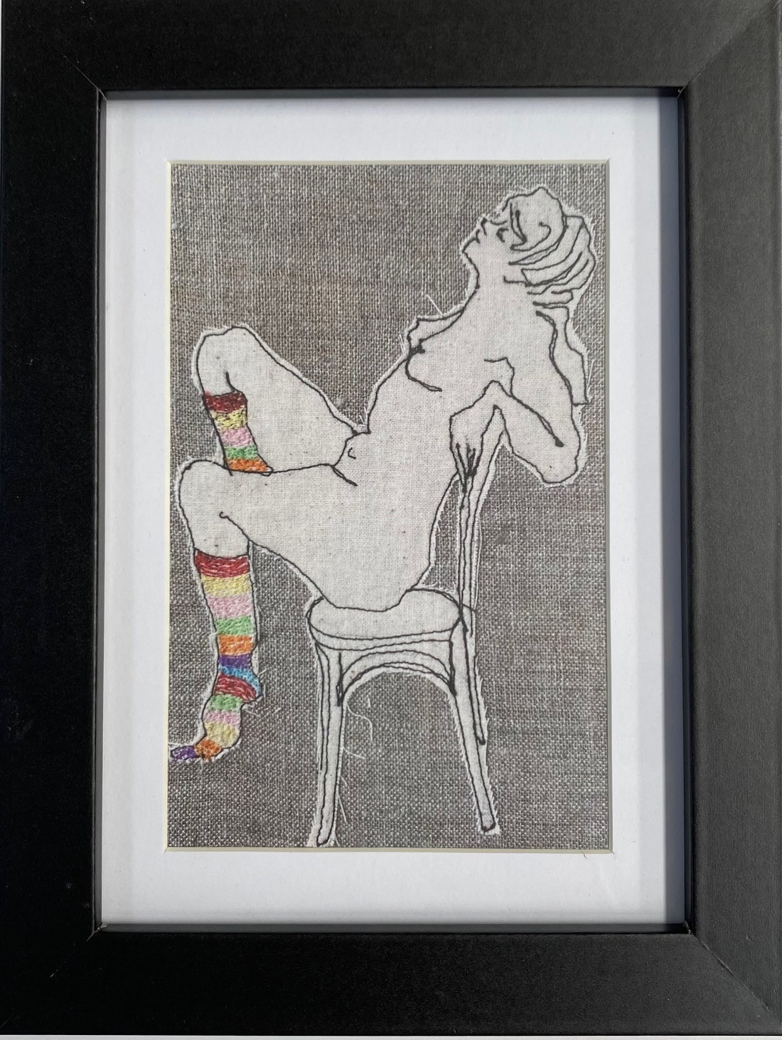 Ms Stripey Socks II Framed Artwork Print By Juliet D Collins