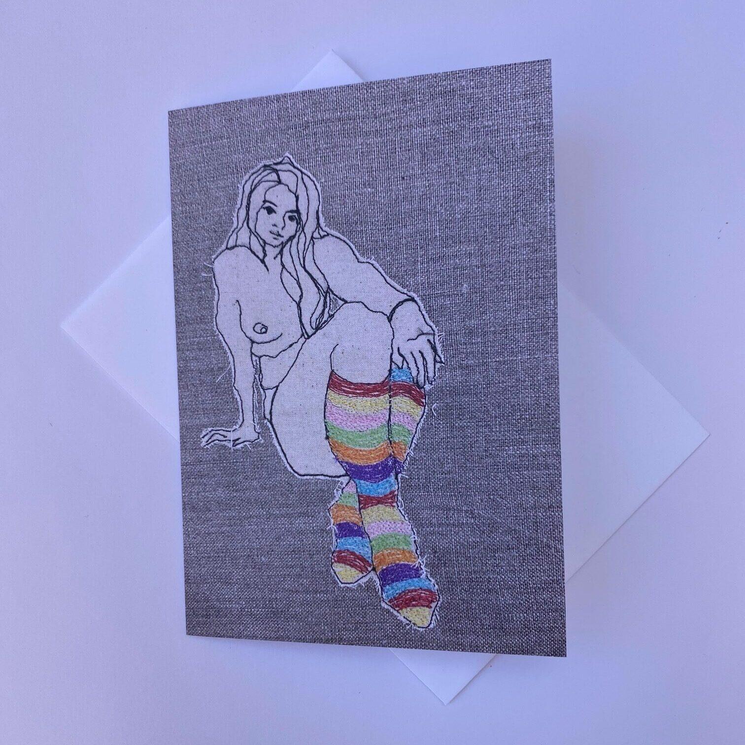 Ms Stripey Socks III Greeting Card By Juliet D Collins