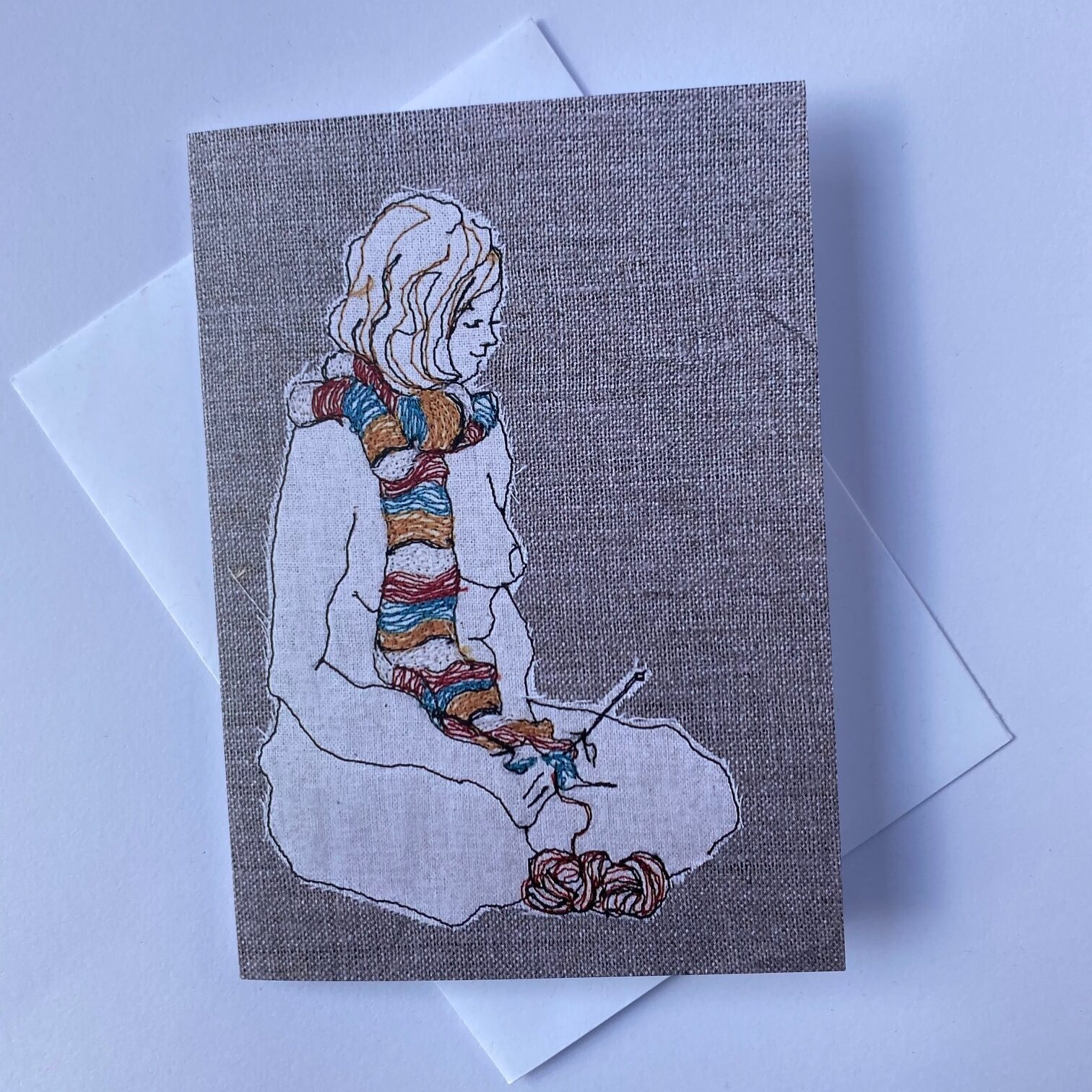 The Knitter Greeting Card By Juliet D Collins