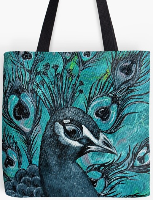 Peacock Tote Bag By Gem's Artistic Creations
