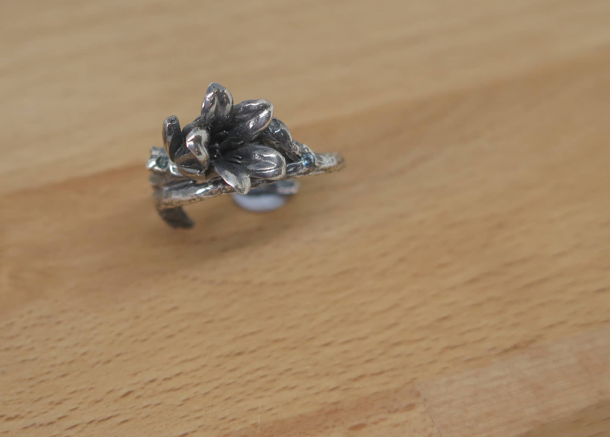 Blue Bell, Sterling Silver Flower Ring By GermanoArts