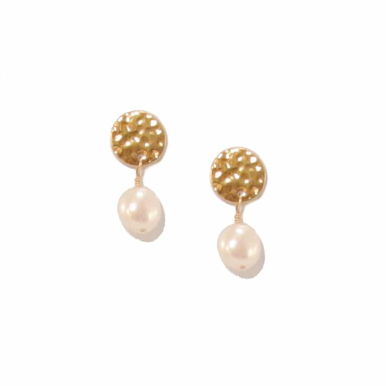 Impressions Gold Disc Earrings With Potato Pearl Drop (mini)