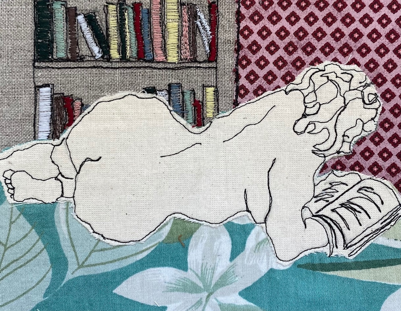 Booklover Embroidered Textile Artwork By Juliet D Collins (Prahran)