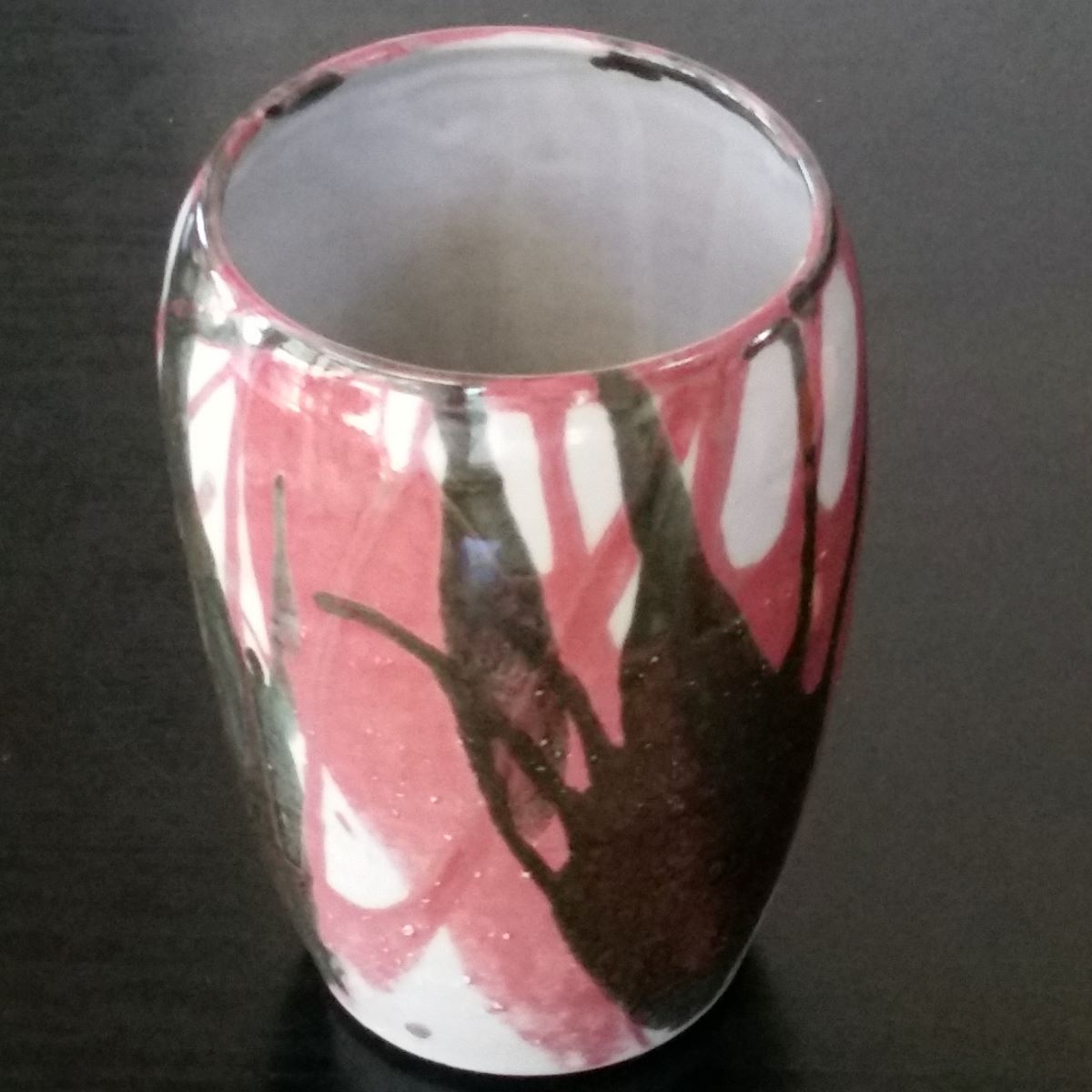 Vase Black And Red Splash By Clifton Hill Pottery