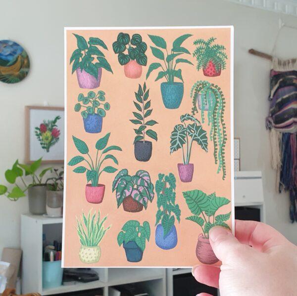 variety-potted-plants-a5-art-print-botanical-collection-sarah-sheldon-by-a-vibrant-nest-by-avibrantnest