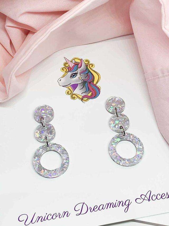 Three Circle Drop Earrings Silver Glitz By Unicorn Dreaming
